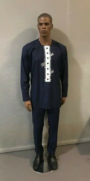 African Men Navy Blue suiting material suit , African Wedding, Traditional event