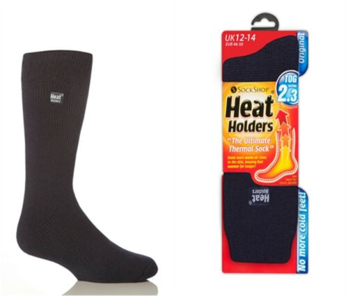 1 Pair Mens GENUINE Thermal Winter BIGFOOT Heat Holders Socks size 12-14 uk Navy
