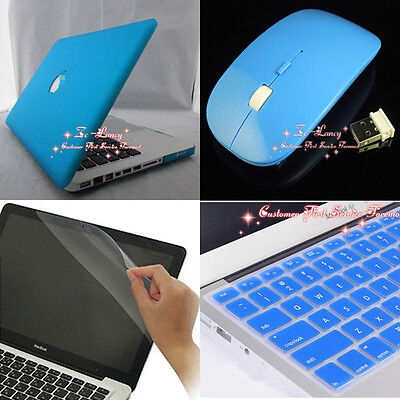 4in1 Sky Blue Rubberized Hard Case Wireless Mouse for Macbook Pro 15'' A1286