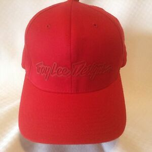 e36ad0567c6 Troy Lee Designs Hat Baseball Cap Flex Fit L XL Solid Red Large ...