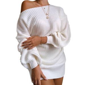Womens Knit Sweater Bodycon Dress Ladies Striped Casual Party Jumper Mini Dress
