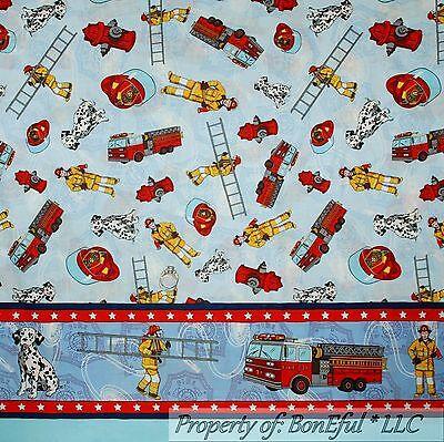 BonEful Fabric FQ Cotton Quilt Fire Truck Ladder Hat Border Stripe Dalmatian Dog