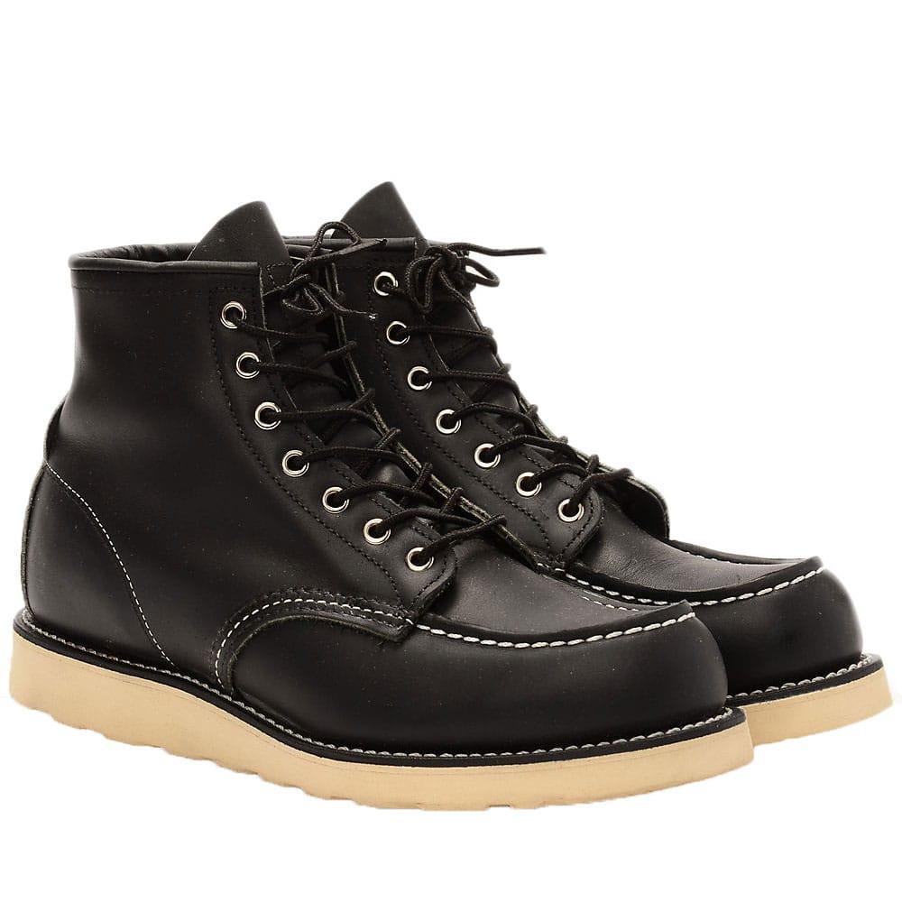 Rouge wing boots Classic Moc Toe Boot 8130 Premium Noir Chaussures en Cuir Marron Travail