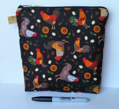 Handmade Zipper Purse Project Bag Crafts Travel Farmhouse Primitive Roosters New