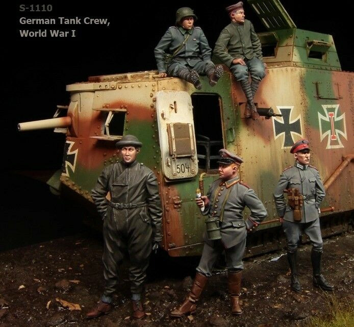 1 35 scale resin model figures kit WW1 German Tank crew big set (5 figures)