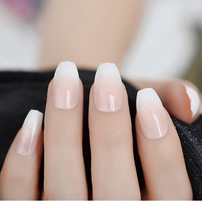 acrylic french presson nails short simply shiny beige