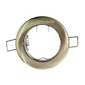 Aro-Fijo-Empotrable-GU10-Redondo-Oro-viejo-cuero-bronce-halogeno-ojo-de-buey