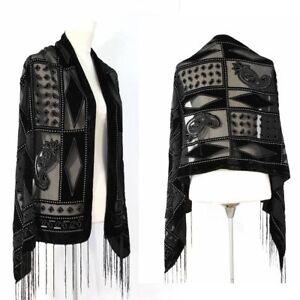 Fashion-Gorgeous-Black-Color-Vintage-Geometric-Art-Silk-Velvet-Scarf-Shawl-Wrap