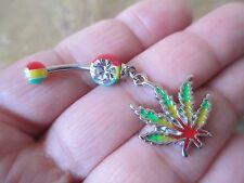 Rasta Pot Leaf Medical Marijuana 420 Belly Button Navel Ring Piercing