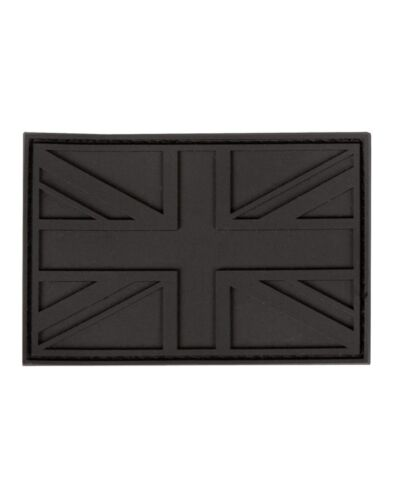 Black Tactical Subdued Union Jack PVC Rubber Badge Military Patch Hook Back