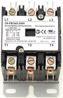 CN-PBC403-240V Definite Purpose Contactor 40A 3P 240V Coil 40 FLA 50 RES