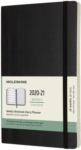 MOLESKINE Agenda Settimanale Planner 18 Mesi 2020-21 NERA SOFT Large 13x21 cm