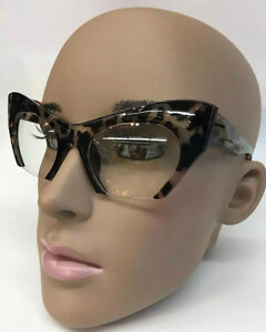 b8e46a53a0fc Cut Off Semi-Rimless Miu Style Cat Eye Clear Lenses Women Eyeglasses ...