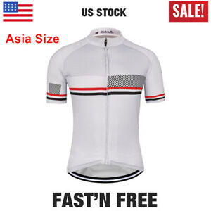 2020 White Men's Cycling Jersey Summer Short Sleeve Shirt Tops Pockets Clothing