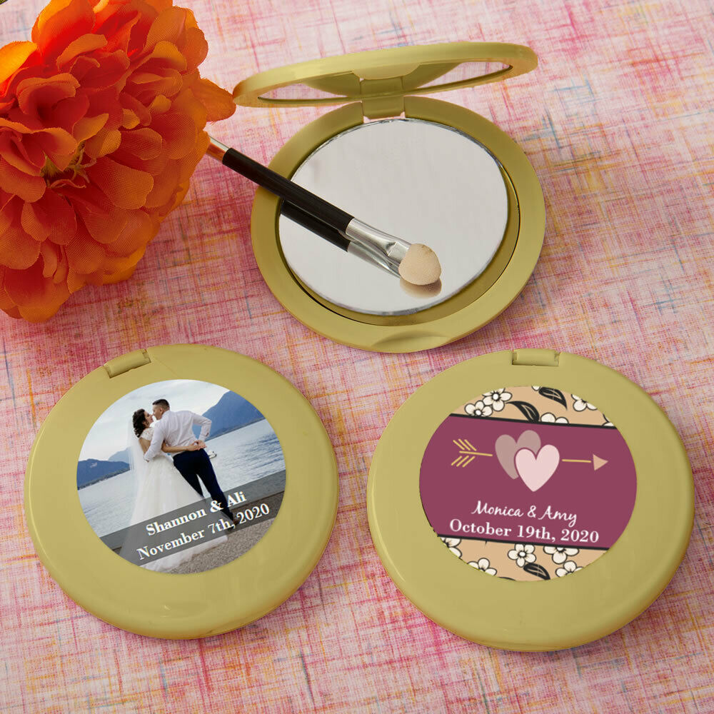 40-144 Personalized Gold Mirror Compact - Wedding Shower Party Favors