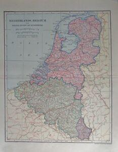 1907 Netherlands, Belgium Grand Duchy of Luxemburg Dodd, Mead Co.Map