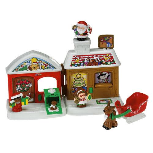 Fisher Price liten människor A Mission from Santa Christmas Reindeer Sleigh NY Set