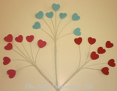 FLOWER PASTE 24 X LOVE HEARTS ON WIRE CAKE TOPPERS IDEAL FOR BURSTS