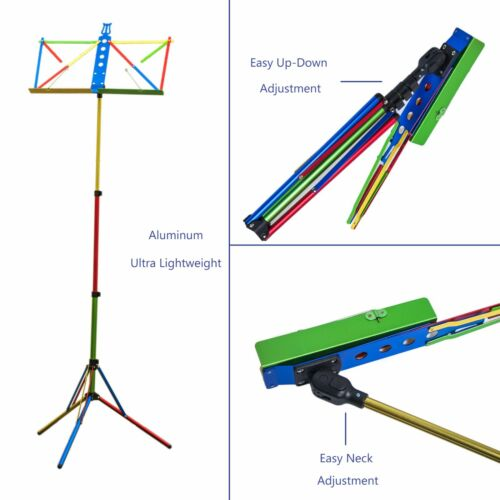 Paititi High Quality Durable Adjustable Folding Music Stand with Bag Rainbow