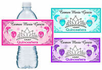 Quinceanera Water Bottle Labels Personalized Glossy Waterproof Ink