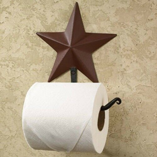 New Primitive Country Red BURGUNDY BARN STAR TOILET PAPER HOLDER Wall Bar Hook