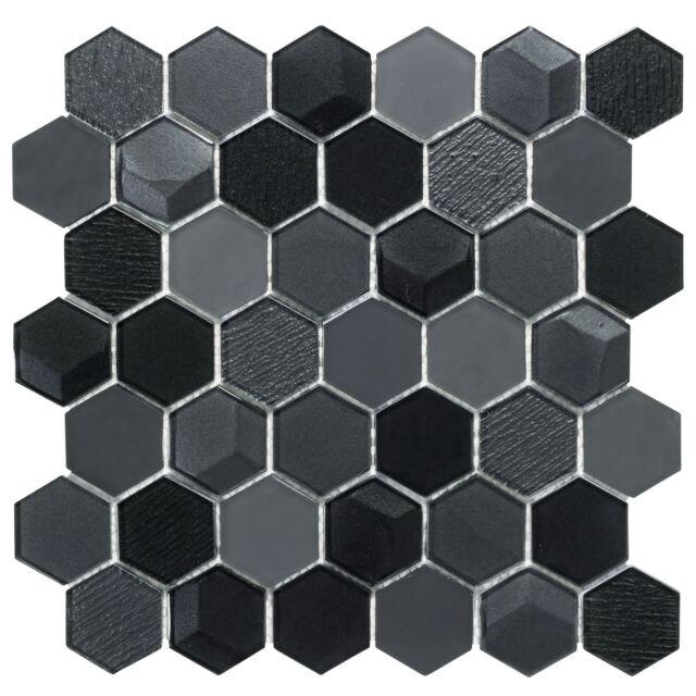 modern hexagon black glass mosaic tile backsplash kitchen feature wall mto0256