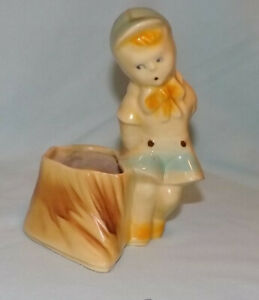 Vntg. Shawnee Boy w/Stump Planter, Aqua & Yellow USA 533, American Pottery