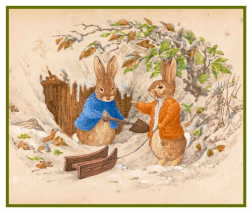 Peter and Ben Rabbit Shovel Snow by Beatrix Potter Counted Cross Stitch Pattern