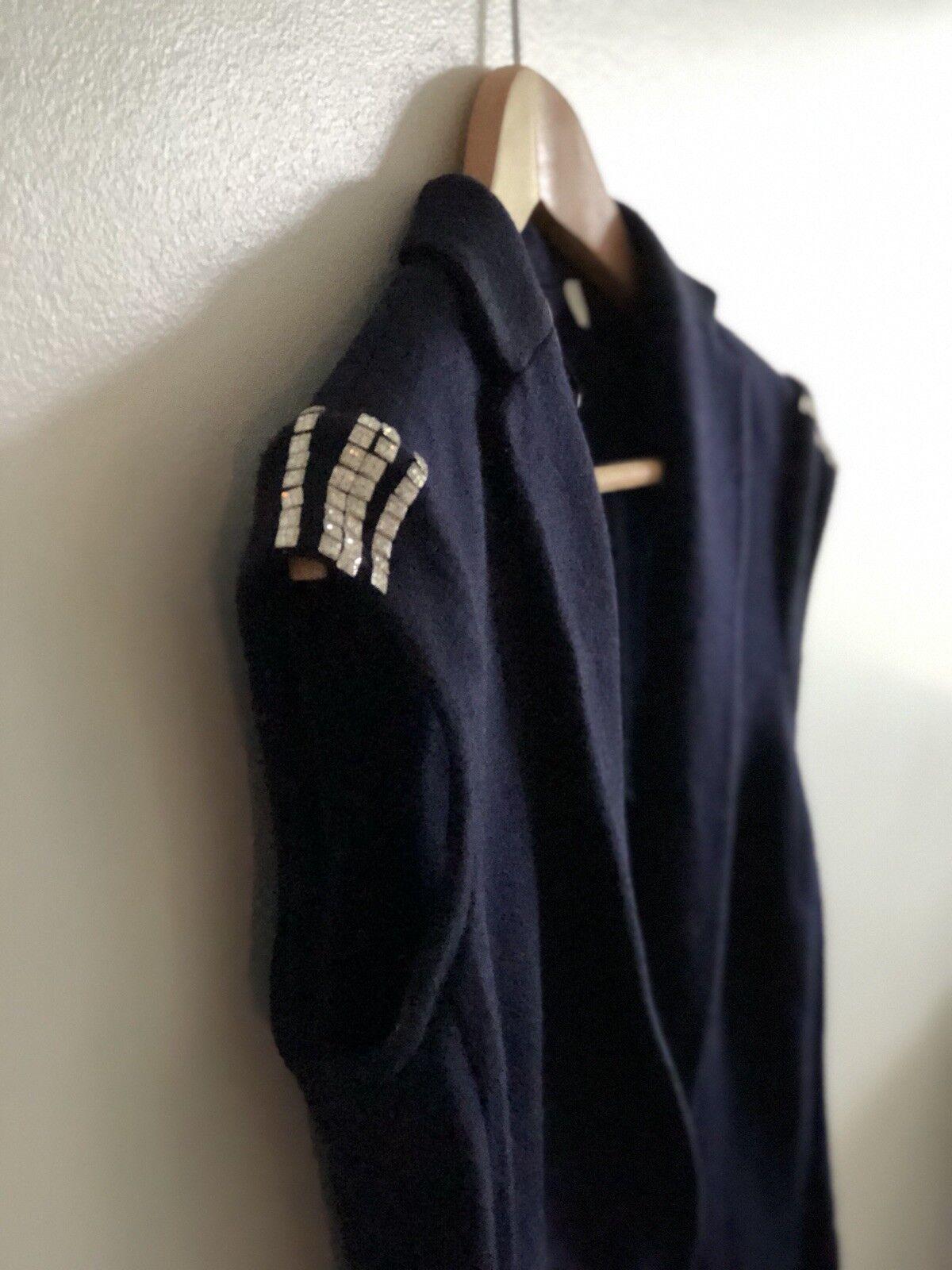 IISLI  478 Navy Navy Navy bluee Knit Waist Coat 100% Soft Wool Swarovski Crystal Grommets 740f83