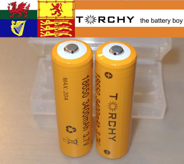 2x 20A Torchy (Sanyo) 3400mAh Button Top 18650 3.7v Li-ion batteries  + case