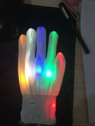 LED Electro Finger Flashing Gloves Light Up Halloween Xmas Dance Rave Party Fun