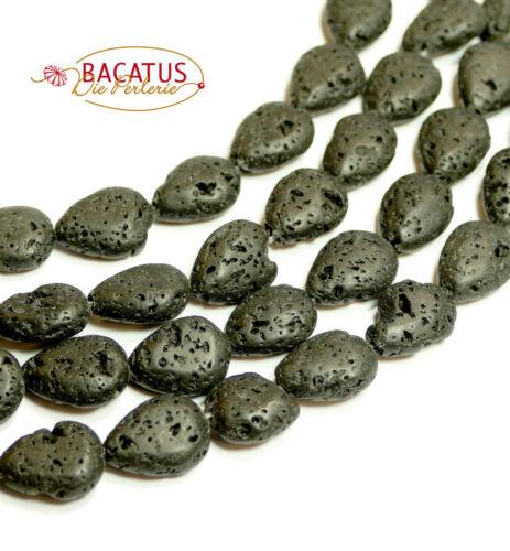 Lava Perlen schwarze Tropfen 10x14 mm 1 Strang BACATUS Edelsteine
