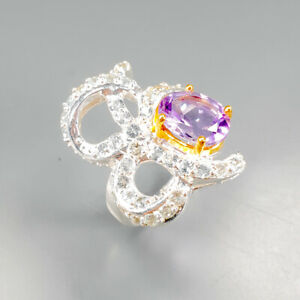 Vintage-Natural-Amethyst-925-Sterling-Silver-Ring-Size-6-5-R123181