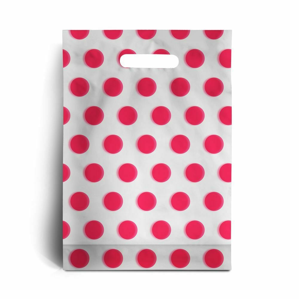 Pink Polka Dot Plastic Carrier Bags15  x 18  + 3  is 45mu 180 gauge