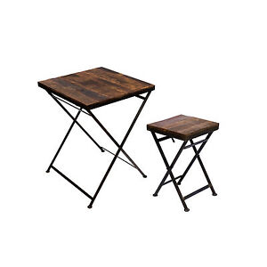 klapptisch beistelltisch hocker holz eisen massiv gartentisch balkontisch stabil ebay. Black Bedroom Furniture Sets. Home Design Ideas