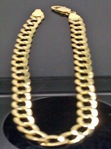 Real-10K-Yellow-Gold-Cuban-curb-Link-Bracelet-5mm-8-034-Inch-Rope-Franco-Unisex-N