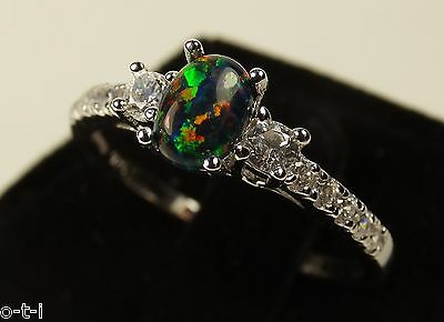 Black Fire Opal Oval Cut with Brilliant Clear CZ Genuine Sterling Silver Ring