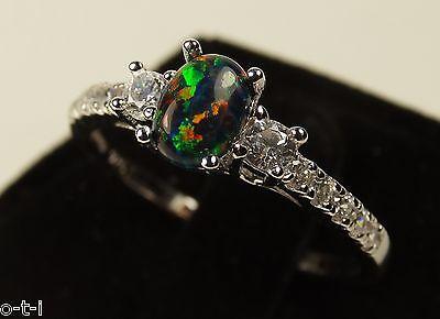 Black Fire Opal Oval Cut White Sapphire CZ Genuine Sterling Silver Ring