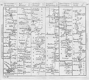 KITCHIN road map 1767 Gloucester Ross-on-Wye Hereford Presteigne Montgomery