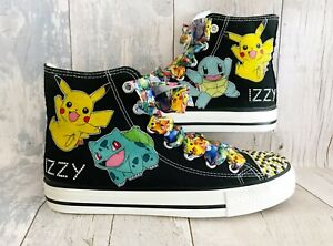 8f26657c134ec Details about Childrens Pokemon Shoes Trainers. Black Customised Kids High  Tops. Sizes 10-4