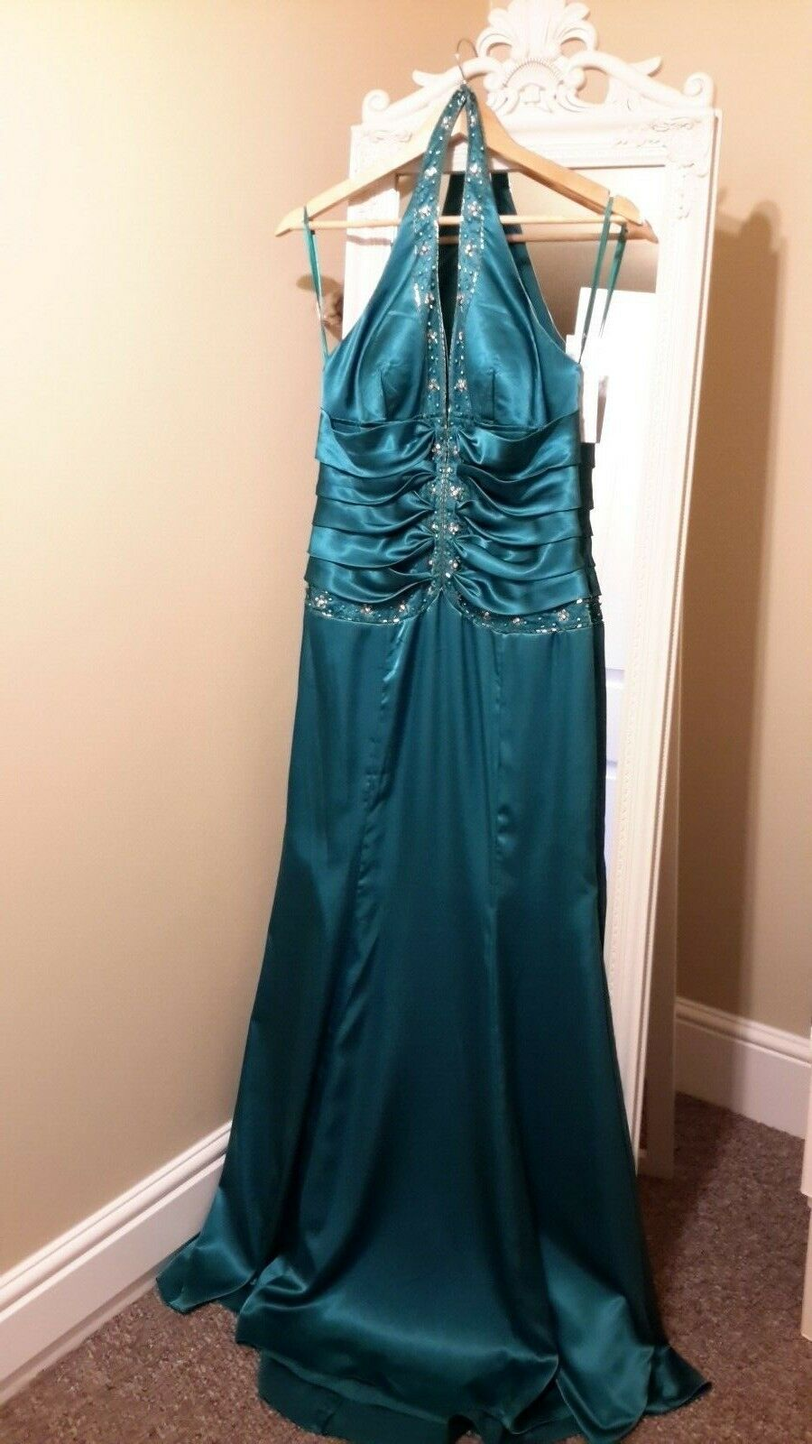 Teal Halter Neck Dress with Beautiful Beading. New with tags on size 10