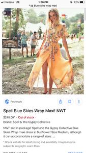 SALE  BNWT Spell & The Gypsy bluee Skies Wrap Maxi Dress Sunflower S