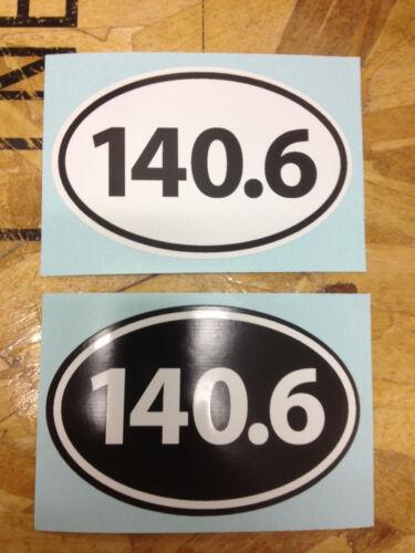 140.6 Ironman Swim Bike Run Triathlon sticker decals Black and White 2 for 1