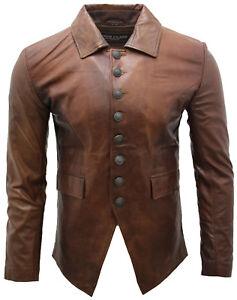 Lucifero Marrone Militare Gotico 100Pelle Camicia Uomo Mens Giacca qUGMSzVp