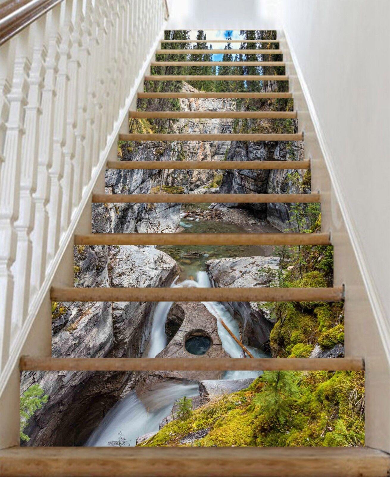 3D Fluss Drre 325 Stair Risers Dekoration Fototapete Vinyl Aufkleber Tapete DE