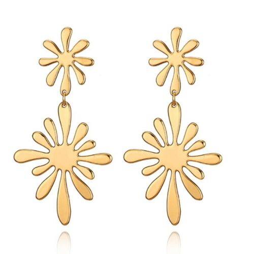 Fashion Women Gold Sun Fleur Long Boucles D/'Oreilles Dangle Ear Stud Boucles d/'oreilles Bijoux New