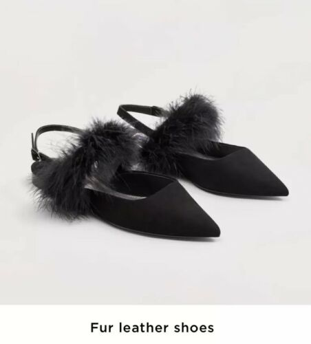 Out Feather Size 3 scarpe Flats Brand Black Pointed Sold Mango New Pumps xUqz4IR