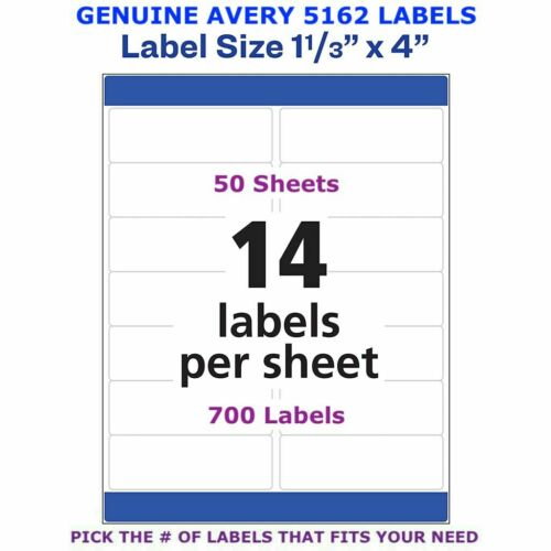 """PICK YOUR OWN # OF LABEL 5162 Avery Easy Peel Laser Address Labels 1 1//3/"""" x 4/"""""""