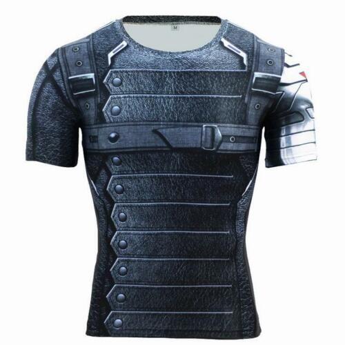 Mens Marvel Superhero Compression T Shirts Gym Sport Dri Fit Short Sleeve Jersey