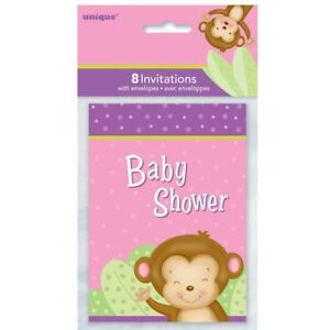 Baby Girl Monkey Invitations 8 Shower Party Supplies Stationery